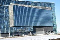 Windows municipal moderno de Reykjavik, Islandia Foto de archivo libre de regalías