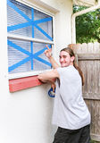 Windows nahm für Hurrikan auf Stockfotografie