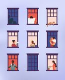 Windows with neighbors doing daily things in their apartments - drinking tea, talking, watering potted plant, hugging or. Cuddling, reading newspaper. Colorful royalty free illustration