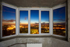 Windows in new apartment. Windows in apartment in new build house Stock Image