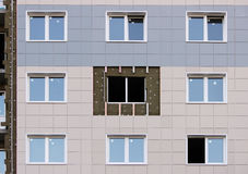Windows in a newly built house. wall structure with insulated non-combustible material basalt fiber tiled. Stock Photo