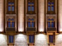 Windows on night facade of Hotel Astoria Royalty Free Stock Image