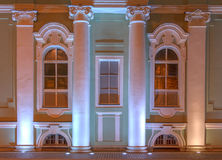Windows on night facade of State Hermitage Museum Royalty Free Stock Photo