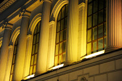Windows of the night Kiev station. Moscow Royalty Free Stock Photography