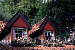 Windows no telhado de telha Imagem de Stock Royalty Free