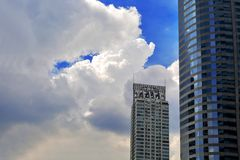 Free Windows Of Skyscraper Business Office With Blue Sky, Corporate Building In Bangkok City Stock Photography - 160701892