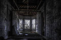 Windows. Old abandoned house in the middle of the woods. urban exploration Stock Photography