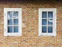 Windows. OLd brick wall and white glass windows, exterior design loft style. Copy space for text Stock Photography