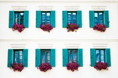 Windows of an old building in Karlovy Vary royalty free stock images