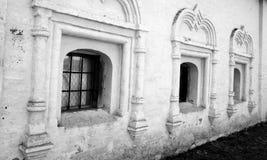 Windows of old building in Kirillo-Belozersky monastery. Royalty Free Stock Image