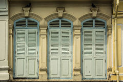 Windows on Old Building in Sino Portuguese  style Royalty Free Stock Photo