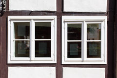 Windows of old house. Windows of old timber framing house royalty free stock images