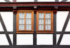 Windows of old house. Windows of old timber framing house, Germany Stock Photos