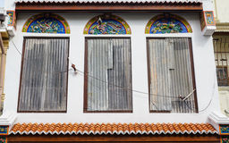 Windows at the old house in Melaka, Malaysia Stock Photo