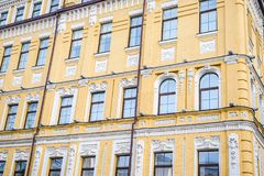 Windows of an old house. On whole frame. Horizontal frame Royalty Free Stock Images
