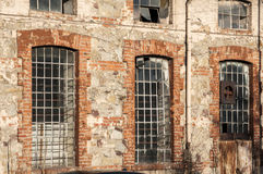 Windows of old industrial building Royalty Free Stock Images