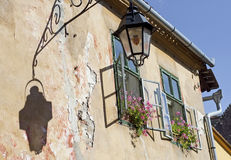 Windows and old lamp Royalty Free Stock Photo