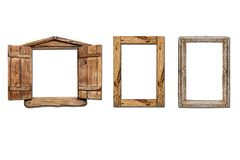 Windows old made from wooden on white background. royalty free stock image