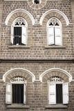 Windows in the old part of Pune, Maharashtra, India.  royalty free stock image