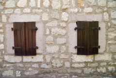 Windows in old stone building Stock Photography