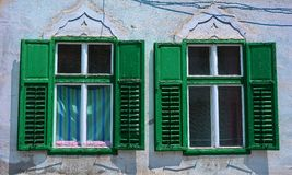 Windows with old wood shutters Stock Photography
