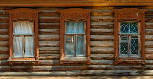 Windows in an old wooden house Royalty Free Stock Images