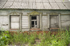 The windows of the old wooden house Stock Photos