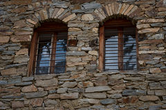 Windows at one old house in Kovachevitsa village, Bulgaria Royalty Free Stock Images