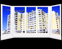 Windows overlooking the multistory modern house Royalty Free Stock Photo