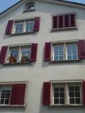 Windows på en byggnad i Bern, Schweiz arkivfoto