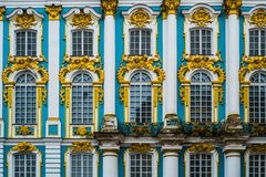 Windows of the palace in Tsarscoe selo, Pushkin, Saint Petersbur. Windows of the palace in Tsarscoe selo,  Pushkin,  Saint Petersburg Royalty Free Stock Image