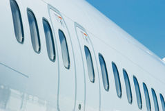Windows of passenger airplane Stock Images