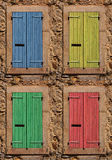 Windows. Pastel Coloured old windows shutters Stock Photography