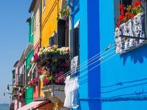 Windows peint dans le burano Photos stock