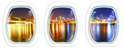 Windows on Perth night. Three plane windows on Narrows Bridge Perth Skyline at night. Perth Downtown cityscape reflecting on the Swan River from Mill point stock photography