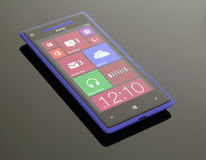 Windows Phone 8 on reflective, glass table. A blue Windows Phone 8 on reflective; glass table Stock Photos