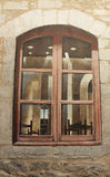 Windows picture on the wall in the Jewish Quarter in Girona. Spain Royalty Free Stock Photos