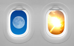 Windows plane - opposites attract. Windows plane - opposites attract (Moon and Sun Stock Photography
