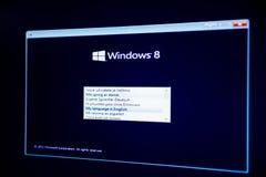 Windows 8 A 1 PRO instalação com o opption da seleção da língua Imagens de Stock