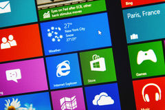 Windows 8.1 PRO metro interface. PARIS, FRANCE - JANUARY 26, 2015: Windows 8.1 PRO metro interface on digital computer monitor Stock Photos