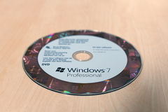 Windows 7 Professional DVD on the table royalty free stock photos