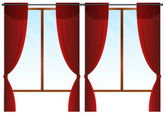 Windows with red curtains Royalty Free Stock Images