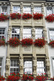 Windows with red geranium boxes an statues. Munich, Germany. Stock Images