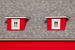 Windows of a red House Royalty Free Stock Image