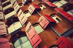 Windows with Red Shutters Royalty Free Stock Photo