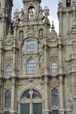 Cathedral, baroque facade detail. Santiago de Compostela, Spain. stock image