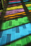 Windows reflection at congres center in Montreal. MONTREAL, CANADA - April 23, 2017: Colourful glass panels and stairs in Palais des congres de Montreal Montreal Stock Image