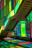 Windows reflection at congres center in Montreal. MONTREAL, CANADA - September 14, 2017: Colourful glass panels and stairs in Palais des congres de Montreal Stock Photography