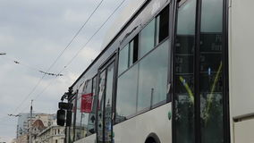 Windows Reflections on Trolleybus stock video footage