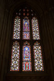 Windows with religious images. At Canterbury Cathedral Stock Photo
